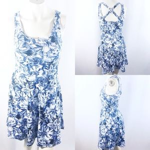 H&M cross back flirty blue floral dress size S